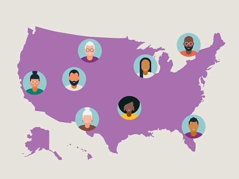 Illustration of diverse avatars placed on United States map