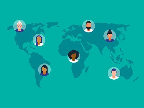 Illustration of diverse avatars placed on world map