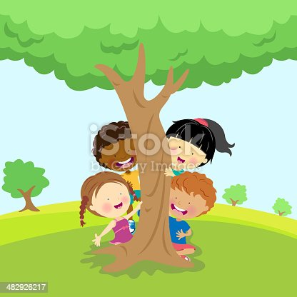 istock Illustration of diverse children behind a tree 482926217