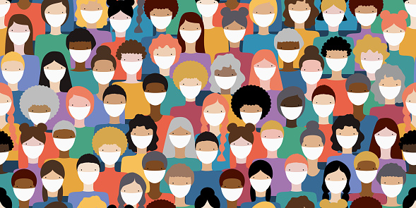Illustration of diverse crowd of people wearing medical masks for prevention of virus transmission. New corona virus COVID-19 concept. Vector seamless pattern.