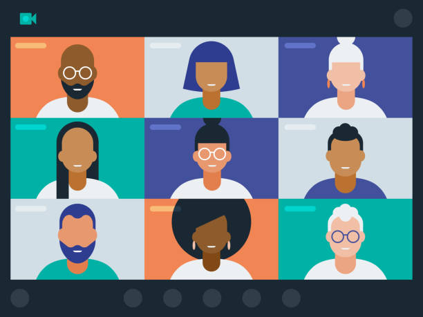 Illustration of diverse group of friends or colleagues in a video conference Modern flat vector illustration appropriate for a variety of uses including articles and blog posts. Vector artwork is easy to colorize, manipulate, and scales to any size. zoom stock illustrations