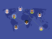 istock Illustration of diverse peers networking on world map 1265698619
