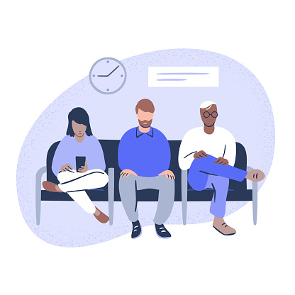 Illustration of diverse people seated in public waiting room