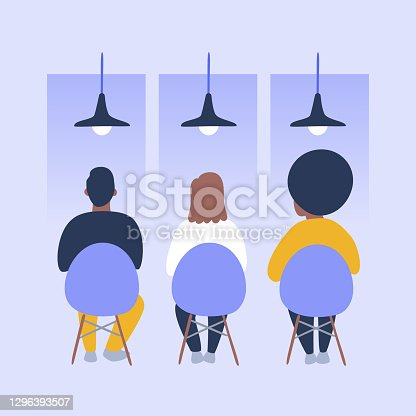 istock Illustration of diverse people seated in public waiting room 1296393507