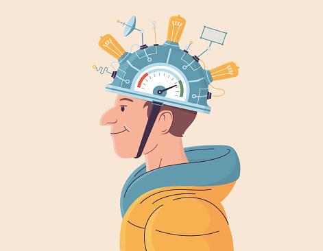 Illustration of DIY helmet with light bulbs