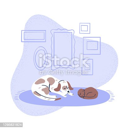 Illustration of dog and cat comfortably resting together on rug