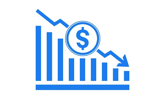 Vector illustration of dollar rate decrease icon. Money symbol with stretching arrow down. Decrease profit, salary, income, cost, price, economy and revenue. Icon for business concept..