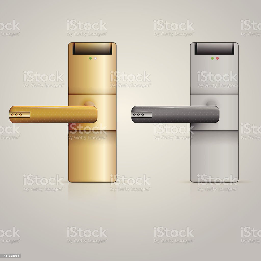 Illustration of doorknobs with lock vector art illustration