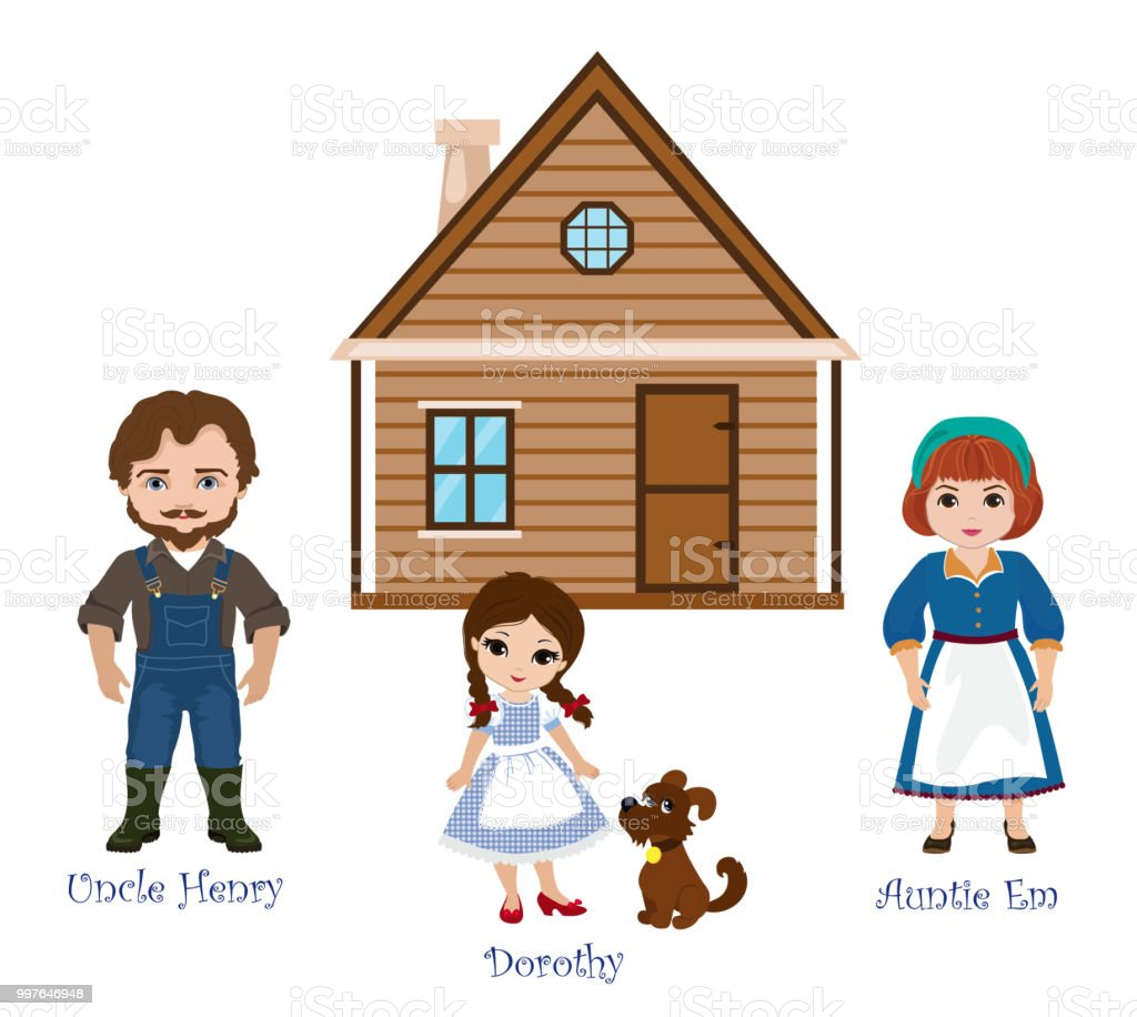 illustration of dorothy and her family uncle henry auntie em on