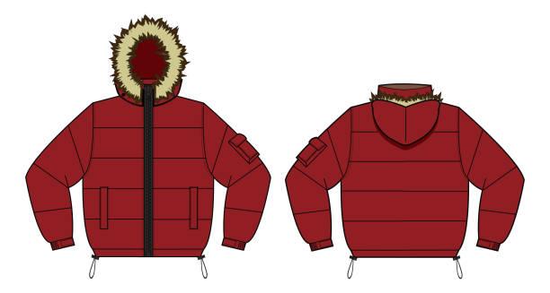 ダウン ジャケット (ファー フード) のイラスト/レッド - ダウンジャケット点のイラスト素材/クリップアート素材/マンガ素材/アイコン素材