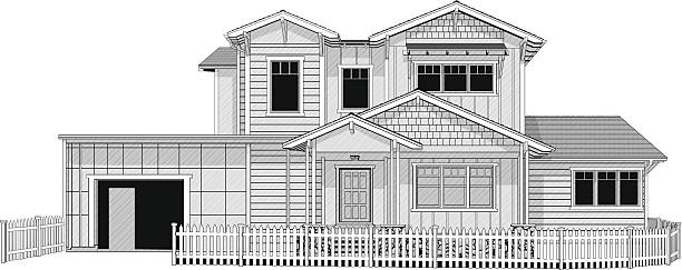 Illustration of dream home with white picket fence Illustration of dream home with white picket fencehttp://www.twodozendesign.info/i/1.png front stoop stock illustrations