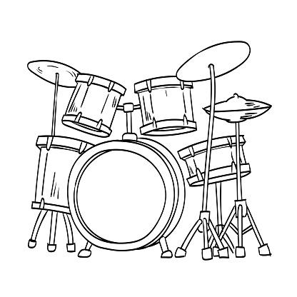 Illustration of Drum Vector Hand draw