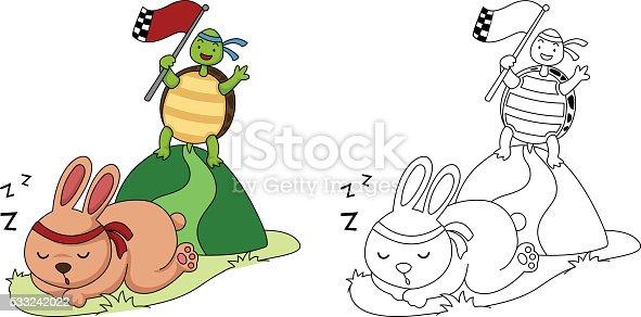 istock Conejo y tortugas están jugando un juego de ajedrez ...
