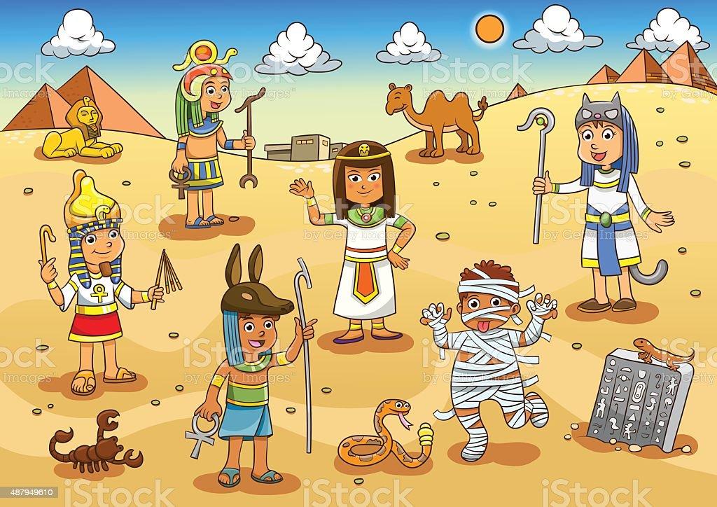 Illustration of egypt child cartoon. vector art illustration