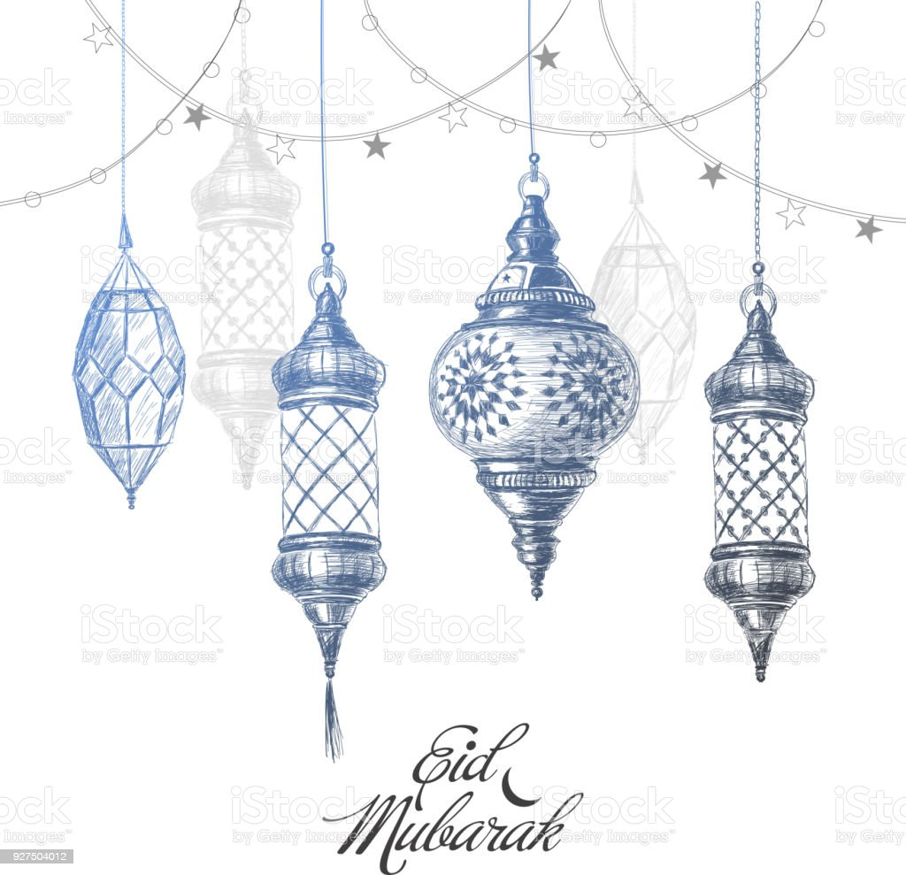 Illustration of Eid mubarak. Beautiful islamic and arabic lantern vector art illustration