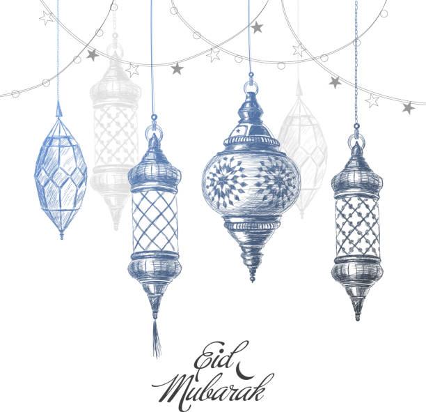 Illustration of Eid mubarak. Beautiful islamic and arabic lantern Hand drawn holiday lanterns. Illustration of Eid mubarak. Beautiful islamic and arabic Lanterns and calligraphy wishes. Greeting moubarak and mabrok for Muslim Community festival. eid mubarak stock illustrations