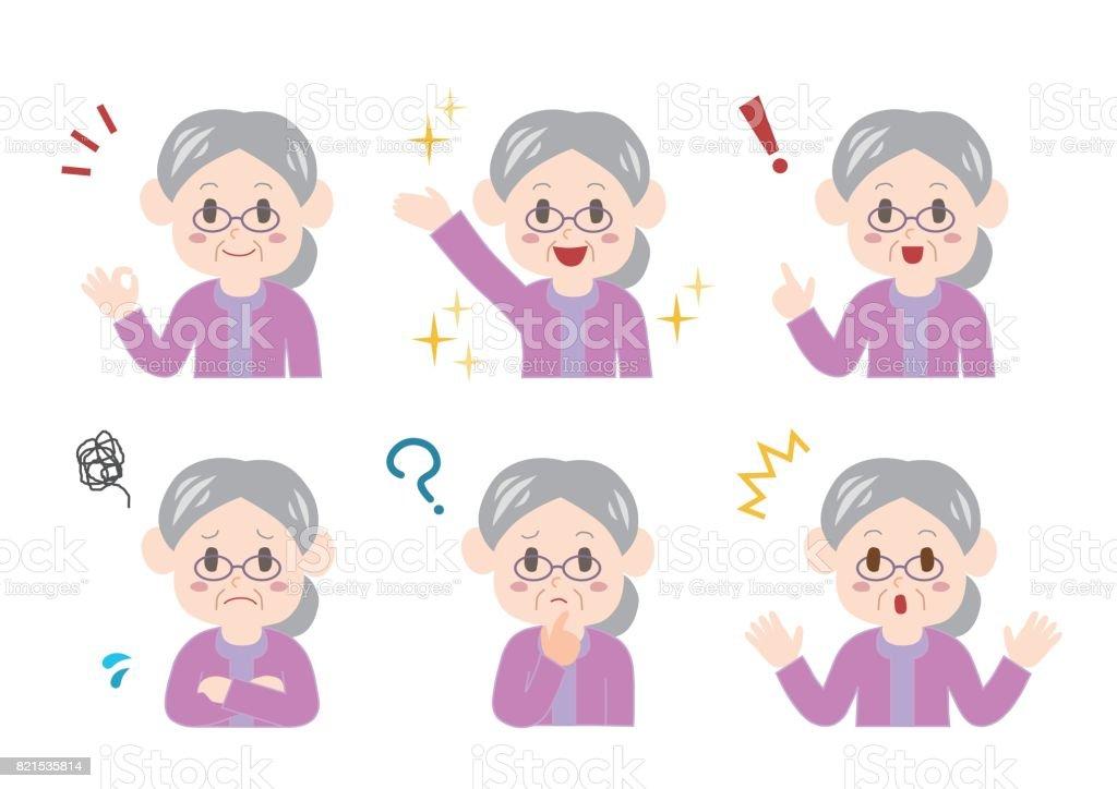 Illustration of elderly woman vector art illustration
