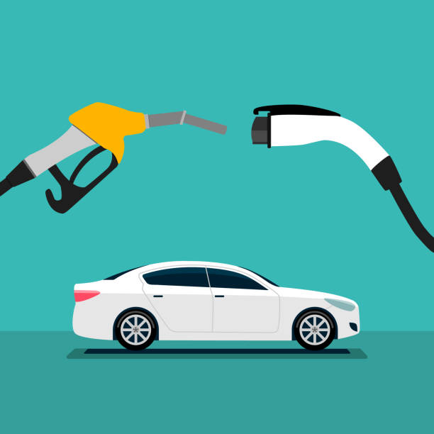 illustration of electric car and fuel fight concept. illustration of electric car and fuel fight concept. hybrid car stock illustrations