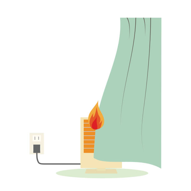 Illustration of electric fire cause vector art illustration