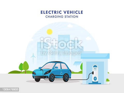istock 3D Illustration Of Electric Vehicle Charging Station With A Car On City View Background. 1306476905