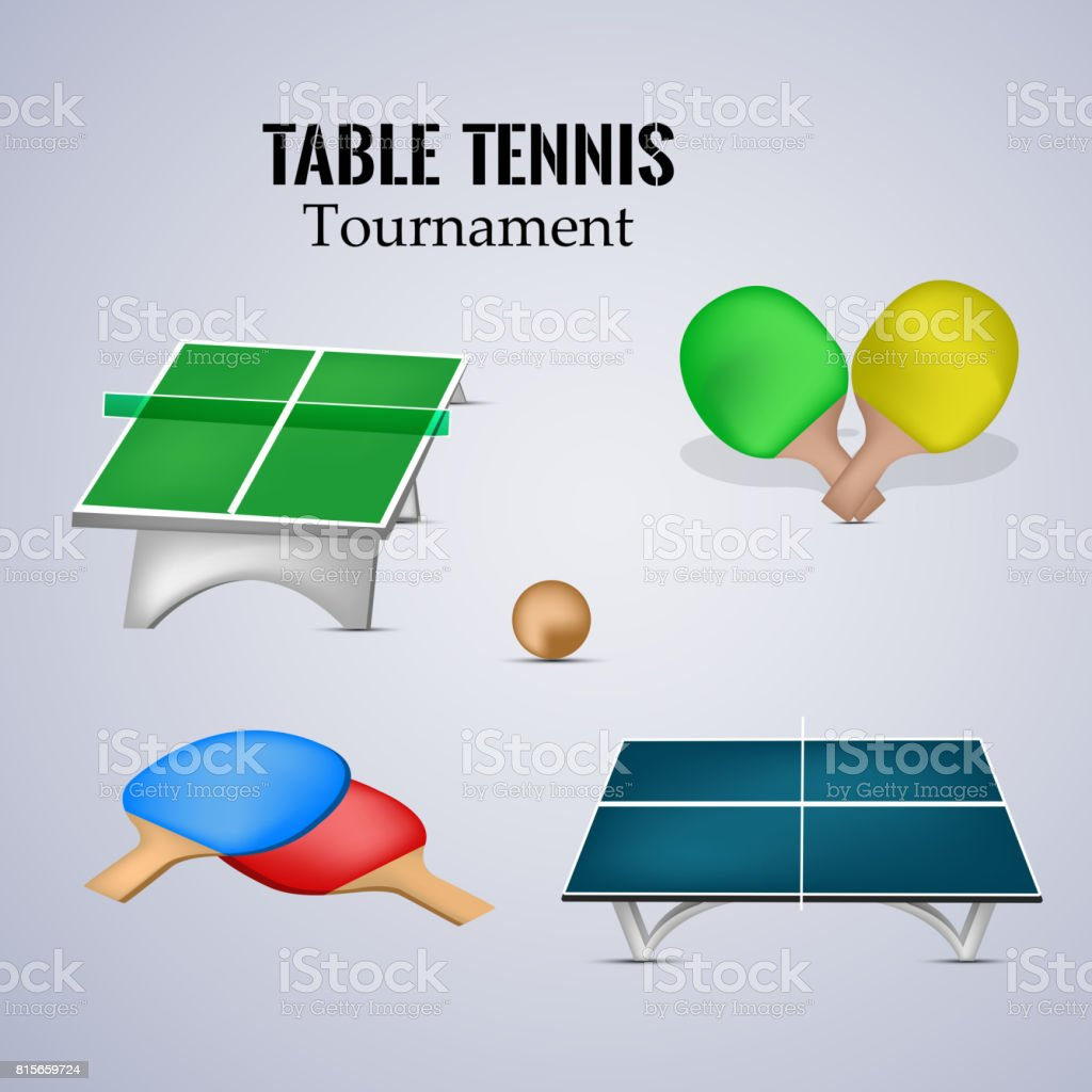Illustration Of Elements For The Indoor Sport Table Tennis Royalty Free