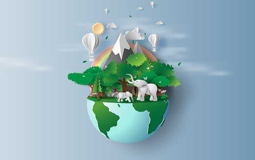 illustration of elephants in green trees forest,Creative Origami design world environment and earth day concept.Landscape Wildlife with Deer in green nature plant by rainbow,balloons.paper cut,craft