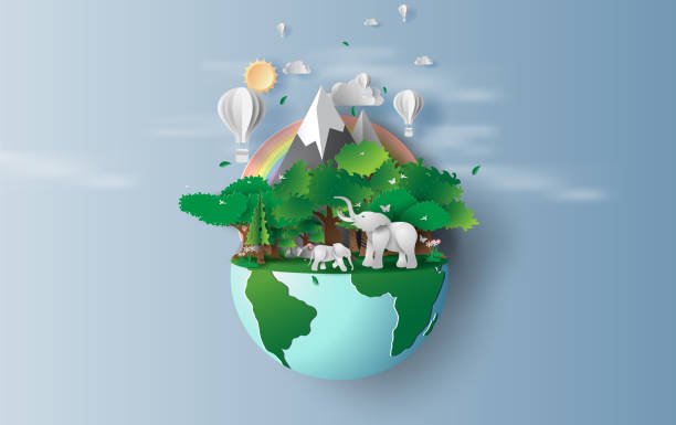 illustration of elephants in green trees forest,Creative Origami design world environment and earth day concept.Landscape Wildlife with Deer in green nature plant by rainbow,balloons.paper cut,craft illustration of elephants in green trees forest,Creative Origami design world environment and earth day concept.Landscape Wildlife with Deer in green nature plant by rainbow,balloons.paper cut,craft paper craft stock illustrations