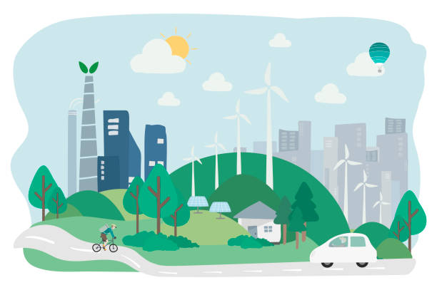 Illustration of environmental friendly city Illustration of environmental friendly city sustainable energy stock illustrations