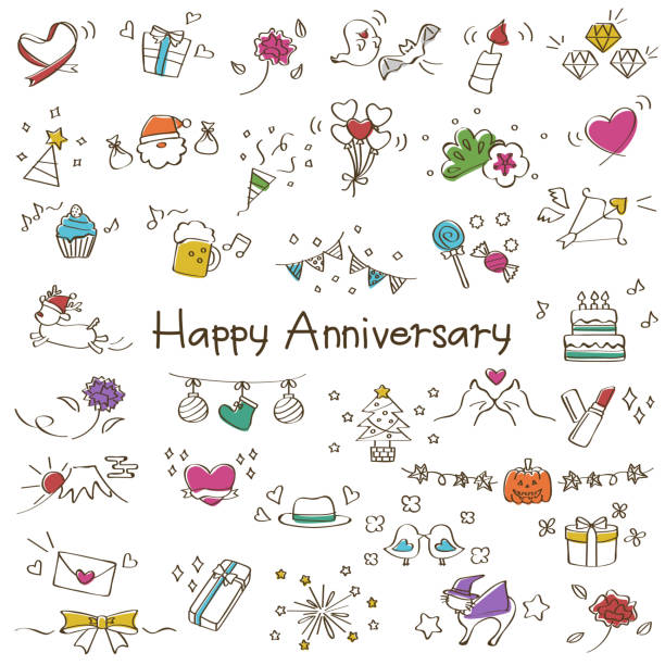 illustration of events and anniversaries - anniversary drawings stock illustrations
