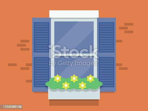 Illustration of exterior building window with flower box