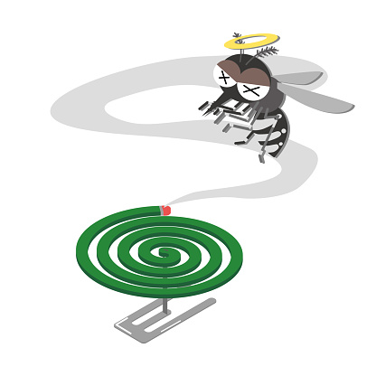 Illustration of exterminating mosquitoes with mosquito coils