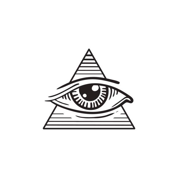 illustration of eye in the pyramid, in the style of tattoos - freemasons stock illustrations