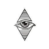 illustration of eye in the rhombus, in the style of tattoos