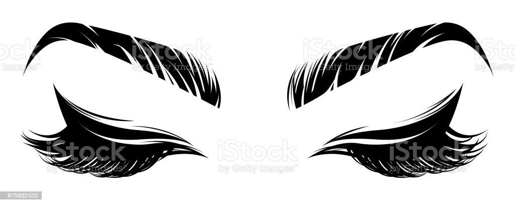 Illustration von Augen Make-up und Braue auf weißem Hintergrund – Vektorgrafik