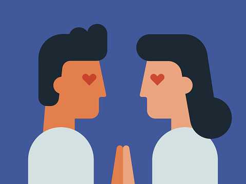 Illustration of face to face young couple in love