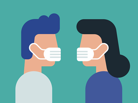 Illustration of face to face young couple wearing face masks