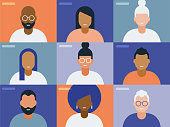 istock Illustration of Faces on Video Conference Call Screen 1254318913
