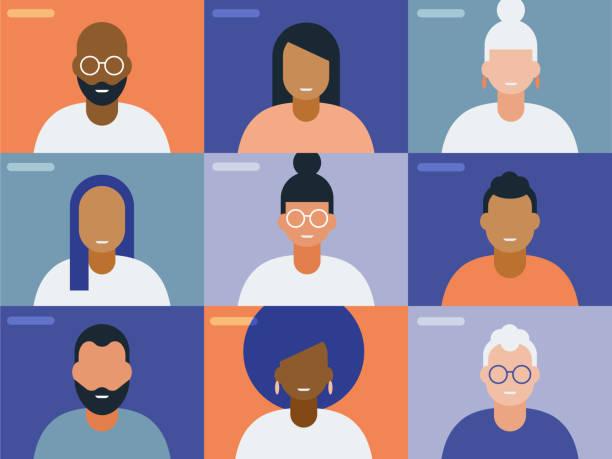화상 컨퍼런스 콜 화면에서 얼굴 그림 - 사람들 stock illustrations