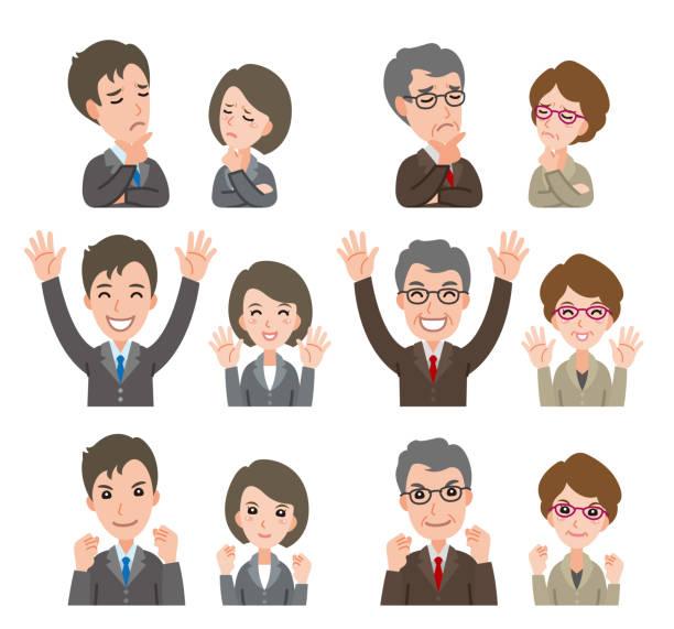 ilustrações de stock, clip art, desenhos animados e ícones de illustration of facial expression of businessman and businesswoman - da cintura para cima
