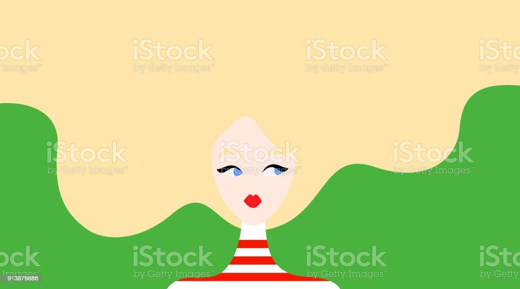 Illustration of fair-haired woman vector art illustration