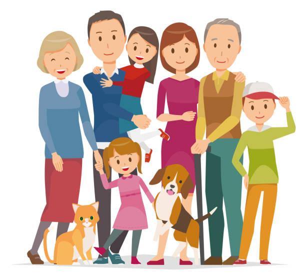 -冬用 pet ・ 3 世代の 7 人の家族のイラスト - 家族 日本点のイラスト素材/クリップアート素材/マンガ素材/アイコン素材