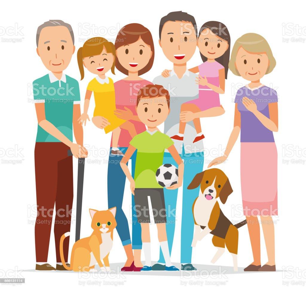 3 世代とペットの 7 人の家族のイラスト アンダルシア州のベクター