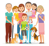 Illustration of family - 7 people of 3generation and pet