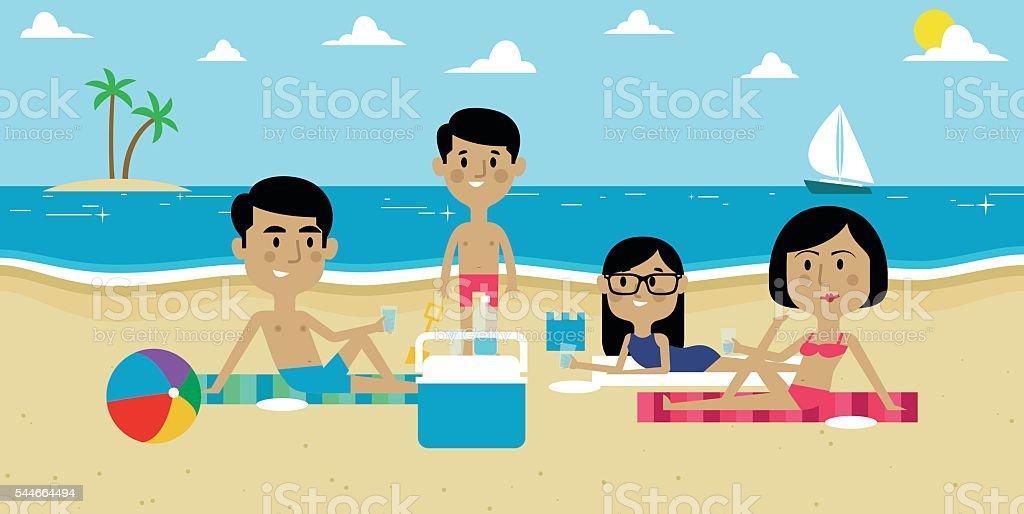 Illustration Of Family Enjoying Picnic On Beach Together vector art illustration