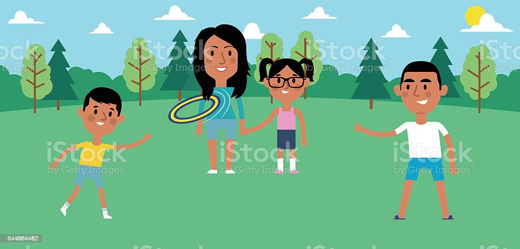Illustration Of Family Playing With Frisbee In Park Together vector art illustration