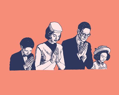 Illustration of family praying together