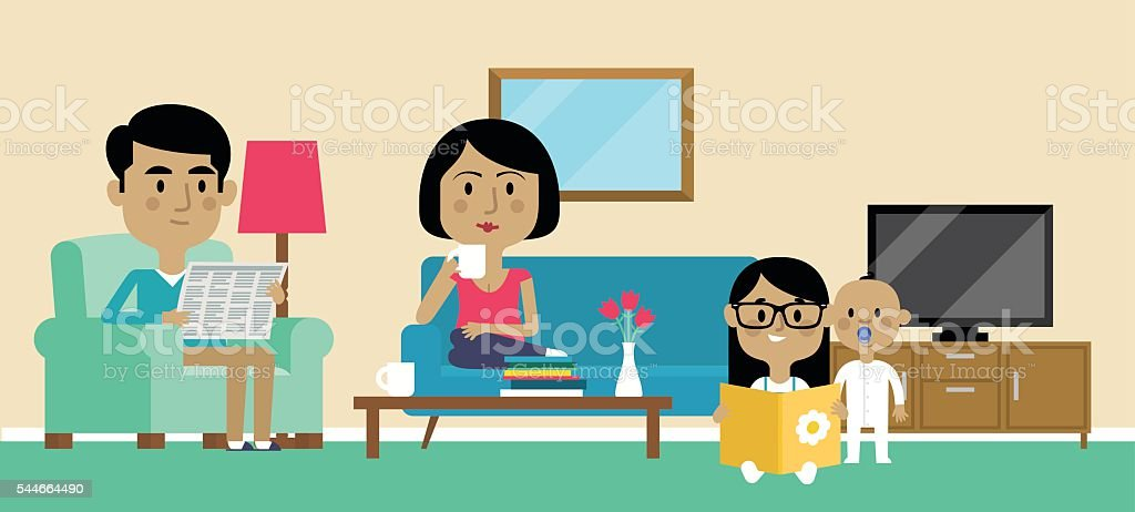 Illustration Of Family Relaxing At Home Together vector art illustration