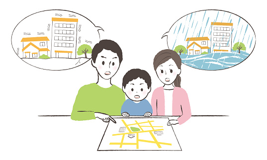 illustration of family talking about disaster prevention