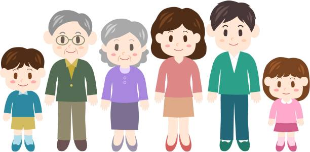 illustration of family - old man smiling backgrounds stock illustrations, clip art, cartoons, & icons