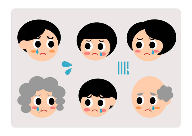 illustration of family(sad,weep) - old man crying stock illustrations, clip art, cartoons, & icons
